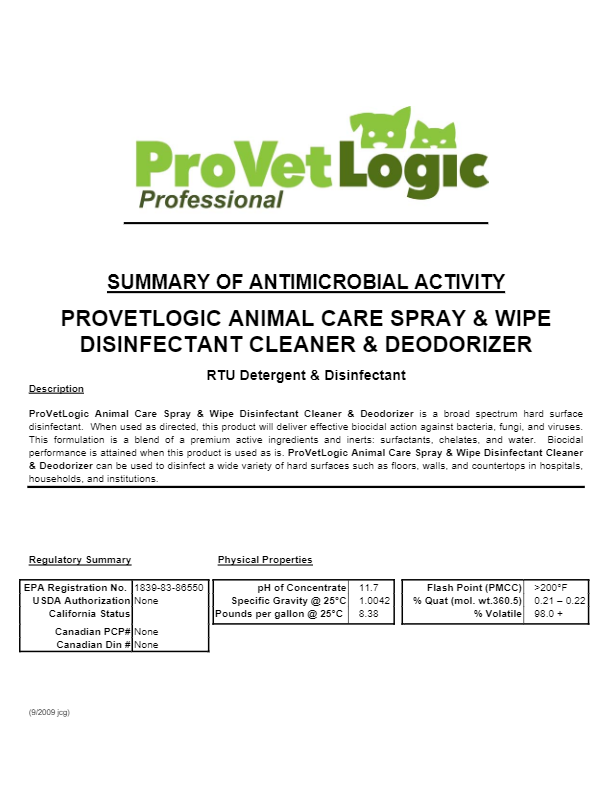 ProVetLogic Animal Care Spray & Wipe Disinfectant Cleaner Efficacy Bulletin