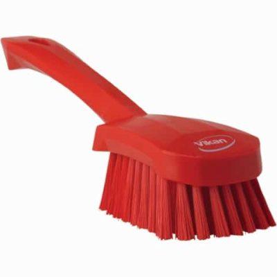 Brush, Short Handle, Soft Bristle Red